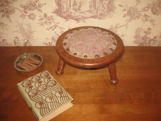 Antique Vintage Solid Oak Victorian Country Upholstered 3 Legged Footstool photo