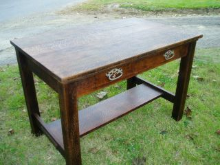 Rare Large Mission Arts & Crafts Oak Library Desk With A Lovely Dark Patina photo
