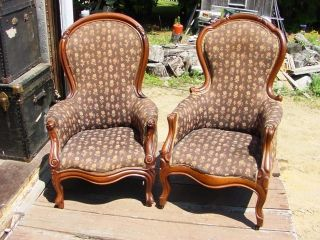 Two Authentic American Victorian Walnut Gents Chairs Armchair photo