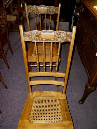 Antique Pressed Back Chair And Nursing Rocker Cane Seats Refinished,  Restored photo