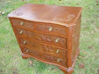 One Of A Kind Antique 5 Drawer Chest With Amazing Carved Detail L@@k photo