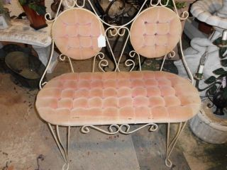 Antique French Heart Iron&fabric Settee,  Chic photo