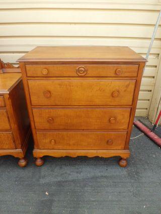 50789 Antique Maple High Chest Dresser With Mirror photo