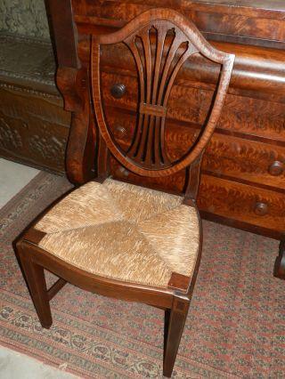 Wonderful Antique Victorian Inlaid Hepplewhite Style Rush - Seated Chair photo