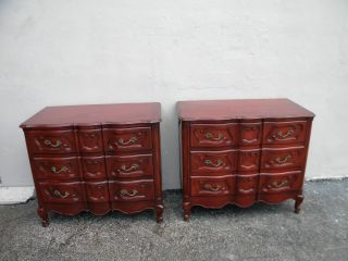 Pair Of French Serpentine Cherry Dressers By Coba Furniture 2697a photo