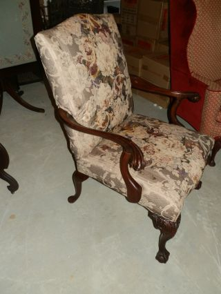 Gorgeous Hand Carved Large Comfy Antique Parlor Chair photo