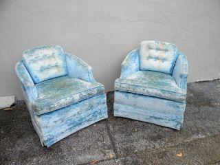Pair Of Mid - Century Tufted Barrel Shape Swivel/rocking Chairs 2593 photo