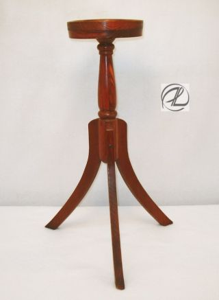 Vintage Plant Stand Wood Oak Candle Stand Small Unique Display Excellent photo
