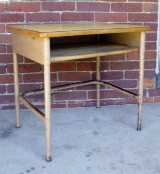 Vtg Industrial Steampunk School Desk Side End Table Nightstand 1950s photo