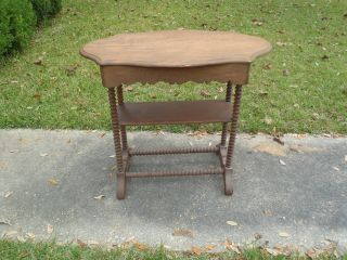 Antique Vtg Wood Tiered Occassional Decorative Table Unusual Turned Legs photo