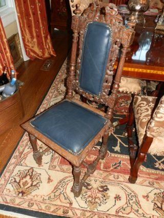 Amazing Antique Hand Carved Victorian High Back Chair W/dark Navy Blue Leather photo