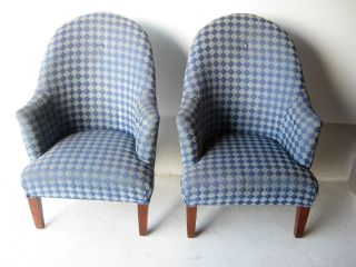 Funky Vintage Modern Tall Back Club Chairs Mid Century Lounge Cool photo