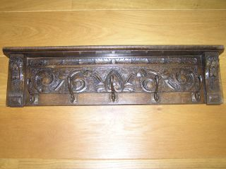 Antique Hand Carved Oak Coat Rack With Lion Heads And 5 Hooks photo