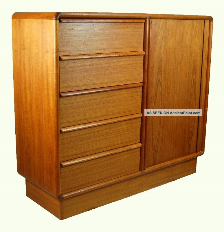 Kibaek Mobelfabrik Danish Modern Teak Wardrobe Dresser Tambour Door Post-1950 photo