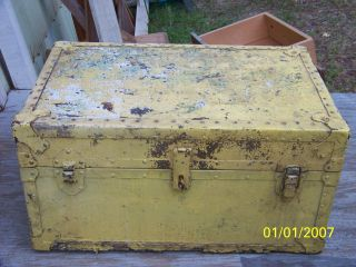 Vintage Metal Trimmed Footlocker - Chest Weight Is 45 Pounds photo