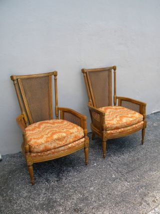 Pair Of French Mid - Century High - Back Caned Side Chairs By Thomasville 2152 photo
