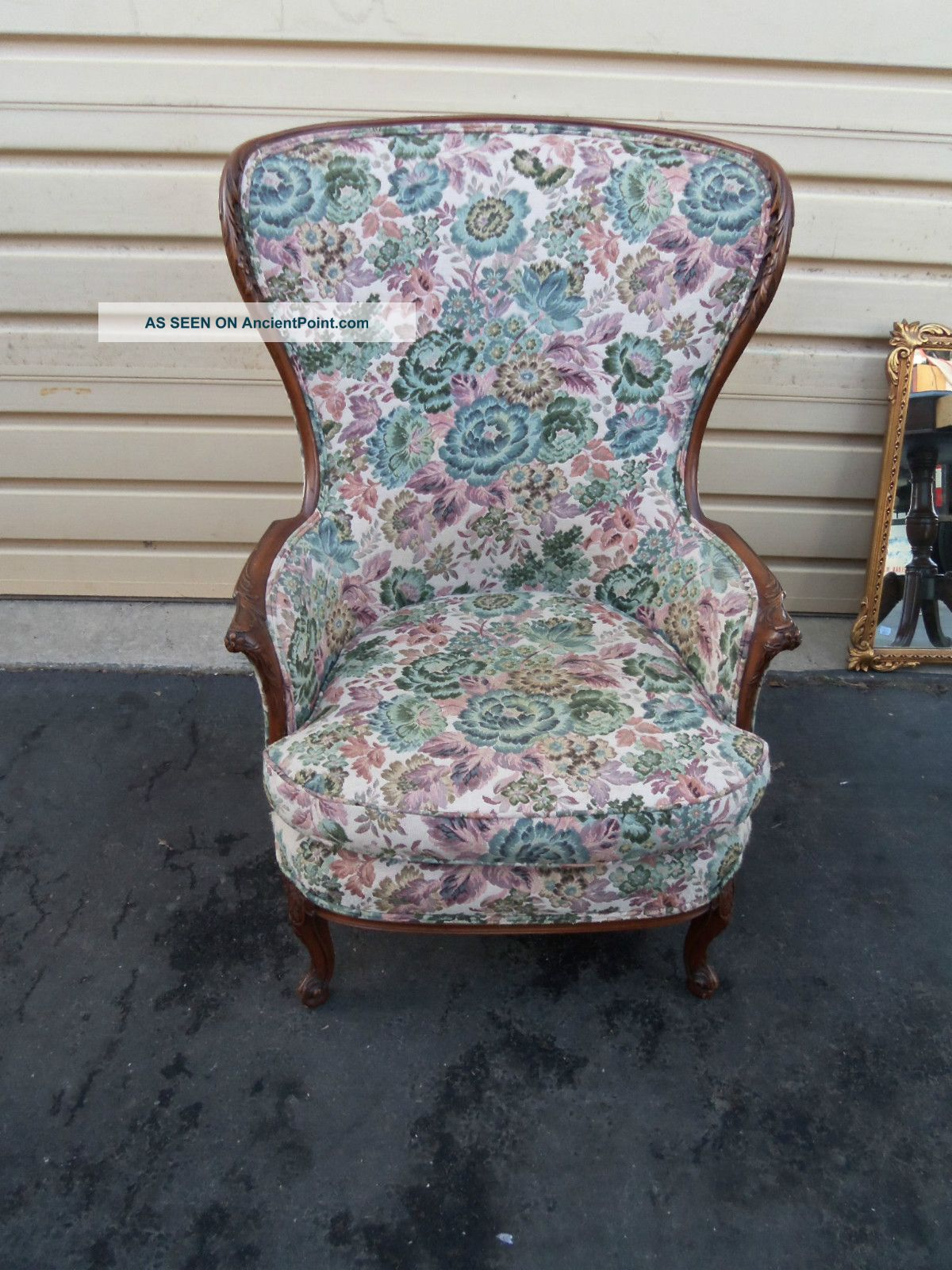 49813 Antique French Fireside Carved Chair 1900-1950 photo