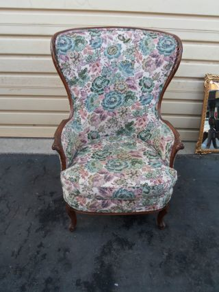 49813 Antique French Fireside Carved Chair photo