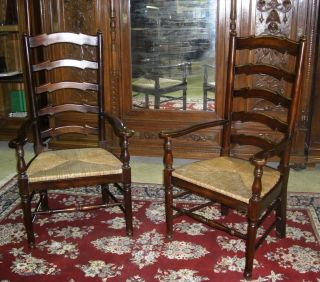 Pair Antique Style Country French Ladderback Arm Chairs Rush Seats photo
