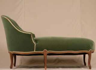Green Velvet French Louis Xv Antique Style Chaise Lounge Settee Loveseat Sofa photo