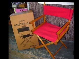 Vtg Wooden Directors Chair Canvas Backs&seats W/orig Box Rustic Shabby Chic photo