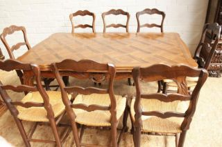 French Country Dining Room 8 Chairs Big Table Circa 1920 photo