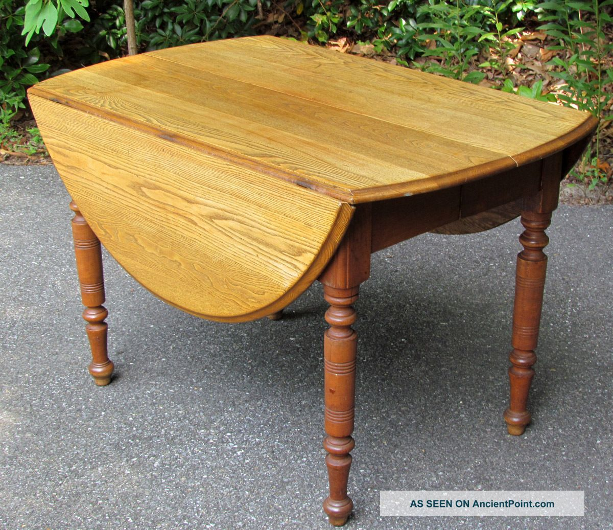 Antique Drop Leaf Oak Top Dining Table 44 X 54 1890 1910 Exte