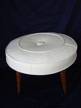 Vintage Ottoman / Stool Round White Faux Leather 20