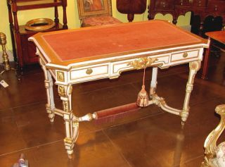 Antique French Louis Xvi Style Painted Desk 19th Cent. photo