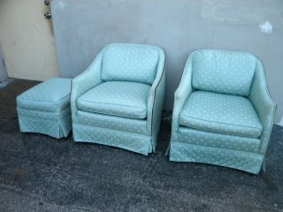 Pair Of Mid Century Low Side Chairs And Ottoman 1892 photo