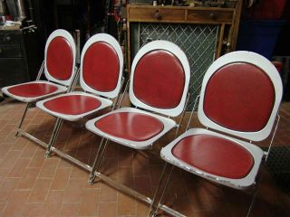 Vintage Hostess Machine Age / Deco Metal Hostess Chairs (4) photo