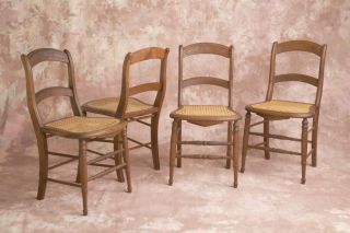 Vintage Antique Cane Hand Carved Chairs 4 photo