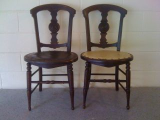 Pair Of C.  1900 Carved Antique Side Chairs photo