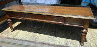 Vintage Brandt Usa Cherry Wood Coffee Table Turned Legs photo