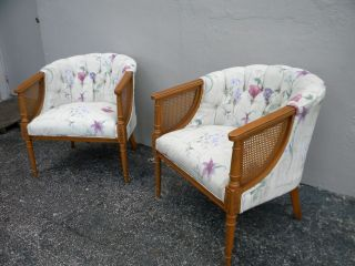 Pair Of Mid - Century Tufted Barrel Shape Caned Side By Side Chairs 2190 photo