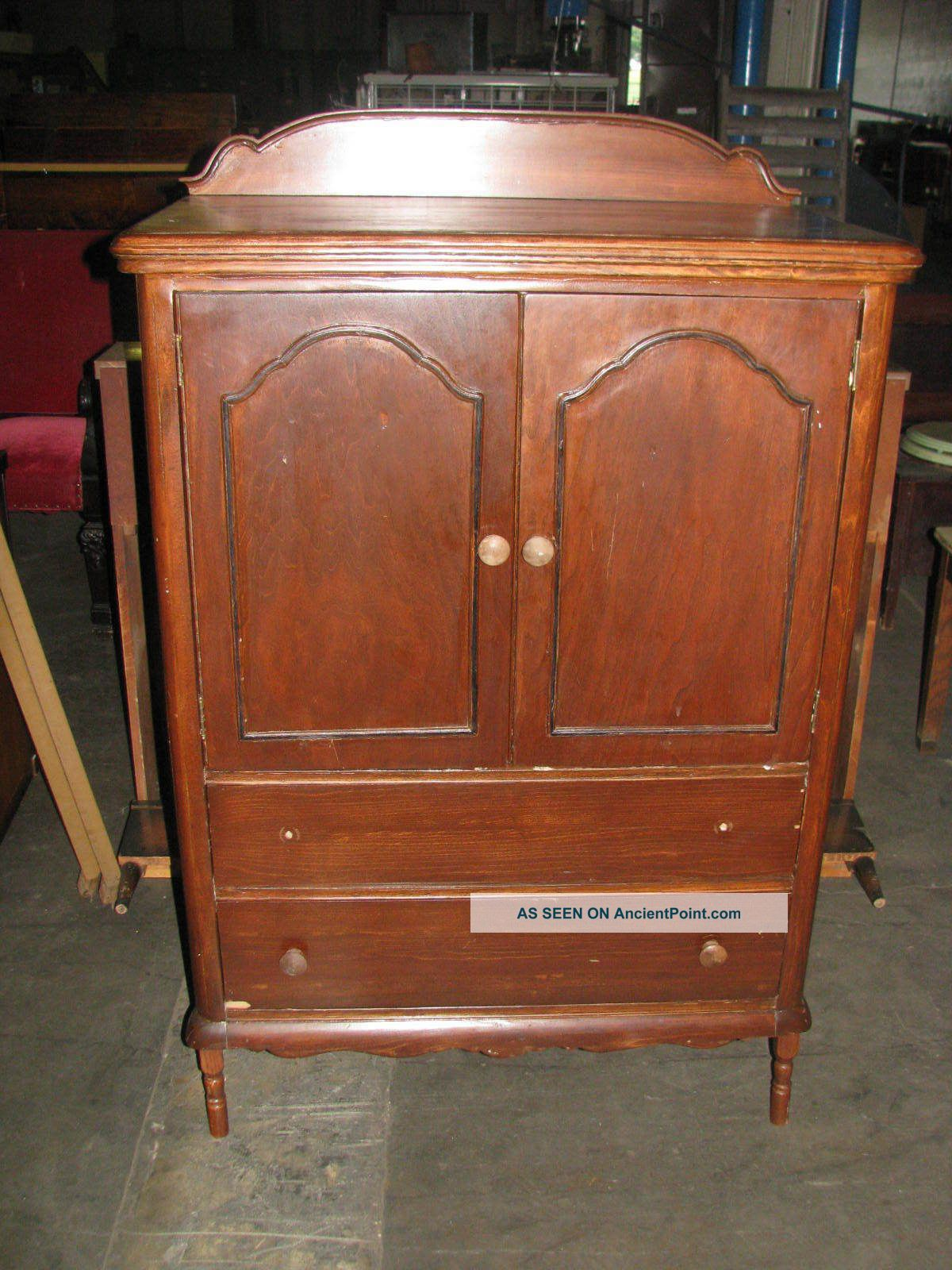 Charmant Antique Gentleman U0027 S Chest Armoire With Front Doors 2 Outer Drawers 4  Inner Draw Photo
