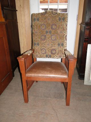 Mission Oak Arm Chair With Leather Seat By Richardson Brothers photo