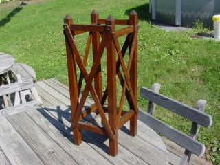 Vintage Oak Umbrella Stand Hall Mission Wood photo
