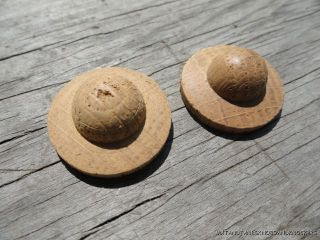 Pair Of Old Oak Bullseye Furniture Mount Screw Cover photo