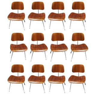 (12) Herman Miller Dcm Walnut Dining Chairs photo