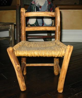 Set Of Five Vintage Chairs All Different Wood Doll Chairs Antiques photo