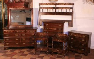 Hitchcock 7 Pc Paint Decorated Mahogany Bedroom Dresser Set Ethan Allen Baker photo