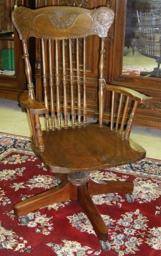 American Antique Golden Oak Rolltop Desk Swivel Arm Chair Carved 19th Century photo