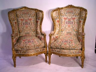Antique Pair Of Louis Xvi Bergere Chairs Museum Quality. . .  Gold. . photo