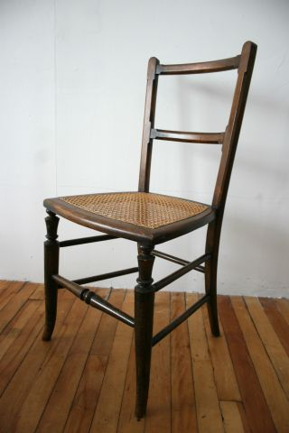 Antique Victorian Bedroom Chair Cane Seat Mahogany No.  2 photo