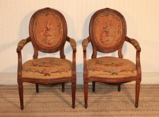 Fine Pair Antique 19th Century French Figural Needlepoint Fauteuils Arm Chairs photo