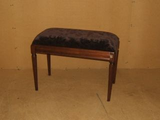 Handcrafted Piano Bench Dark Stain/brown Regency Vintage Wood Upholstery photo