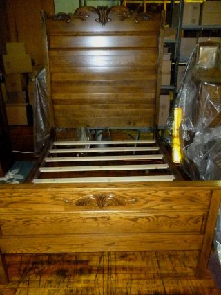 Antique Oak Bed Ornate Carvings,  Raised Panel (full Size) Refinished Made In Usa photo