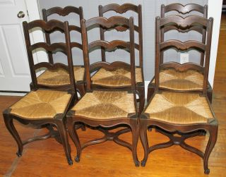 Set Of 6 French Antique Louis Xv Chairs.  Made From Oak. photo