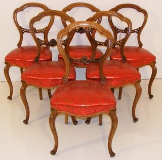 Good Quality Antique Victorian Walnut Set Of Six Dining Chairs photo
